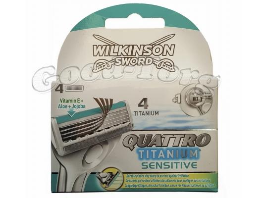 Wilkinson QUATTRO Titanium sensitive 4 насадки для стонка