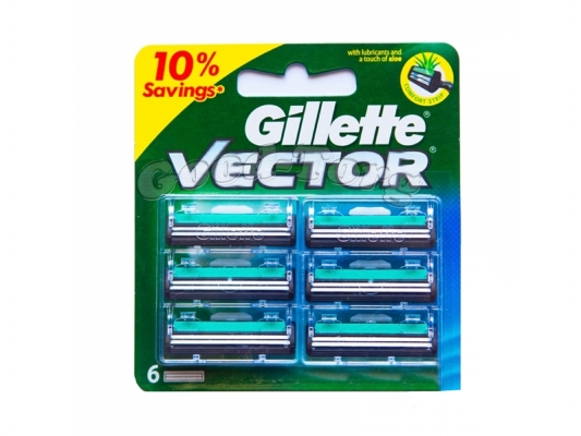 Картриджи Gillette VECTOR, оригинал, 1 уп = 6 шт. (Индия)