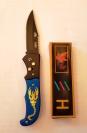 Нож выкидной Скорпион вид N 2 серый рисунок 22 см mod. RB-998