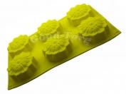 Силиконовая форма для выпечки Цветы 6 новые Гл. 3.5 см. Дл 29,5 см. Шир. 17.5 см. диам. ячеек 7 см.
