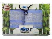 Набор полотенце бамбук Турция 2 шт. цвет синий лицо 35*70 см. + баня 70*140 см.