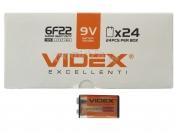 Батарейка VIDEX, 6F22/9V, крона, 24 шт.
