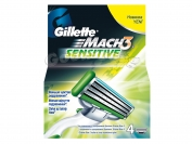 Картриджи Gillette MACH 3 SENSITIVE, оригинал, 1 уп.=4 шт. (Германия)